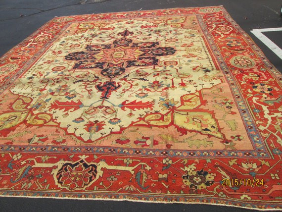 Antique persian serapi 12'x14' circa 1880